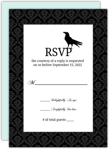 Rustic Black Vines and Crow  Halloween Wedding Response Card