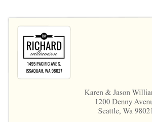 Modern Black & White Custom Address Label