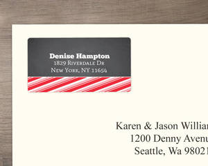 Chalkboard Jolly Red Stripes Address Label