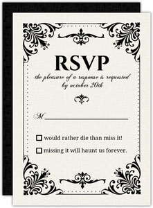 Black And White Victorian Response Card
