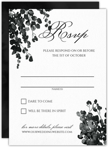 Black Watercolor Decor Wedding Response Card