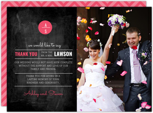 Modern and Classy Chalkboard Wedding Thank You Card