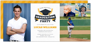 Gray & Yellow Stripe Timeline Graduation Invitation