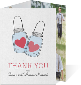 Romantic and Rustic Love Jar Wedding Thank You Card