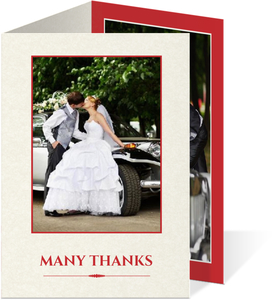 Red Flowers Winter Holiday  Wedding Thank You Card