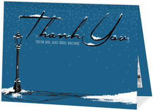 Whimsical Winter Night Wedding Thank You Card