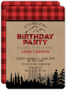 Flannel Lumberjack Birthday Invitation