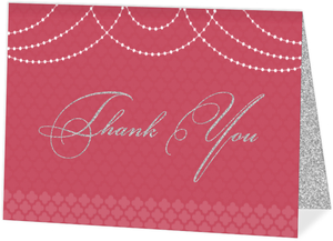 Elegant Pink Royal Pattern Wedding Thank You Card