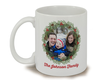 Family Christmas Wreath Mug