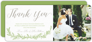 Green Spring Pattern Wedding Thank You Card