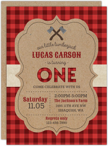 Crafted Plaid Pattern Lumberjack Birthday Invitation