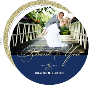 Navy And Gold Glitter Formal Wedding Thank You Card