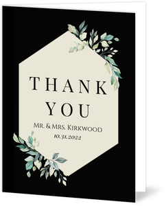 Diamond Greenery Frame Wedding Thank You Card