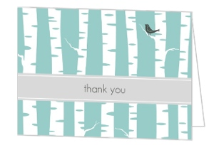 Blue And White Wintry Wedding Thank You Card