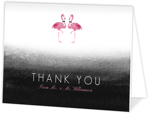 Pink Flamingo Watercolor Thank You Card