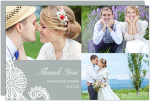White Lace Wedding Wedding Thank You Card