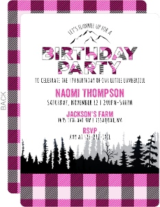 Pink Lumberjill Birthday Invitation