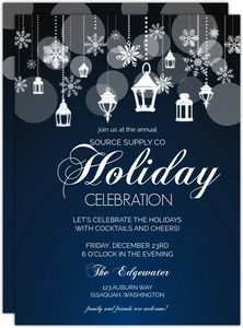 Snowflake Lantern Holiday Business Party Invitation
