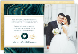 Turquoise & Faux Foil Geode Wedding Thank You Card