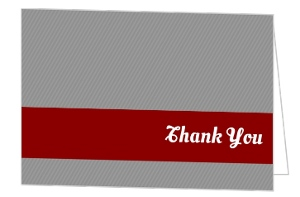 Modern Red Blocks and Grey Stripes Graduation Thank You