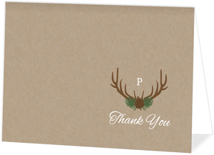 Rustic Deer Antlers Wedding Thank You Card
