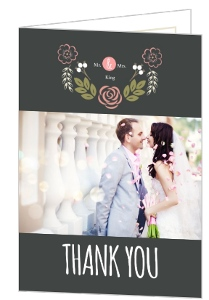 Floral Garden Monogram Wedding Thank You Card