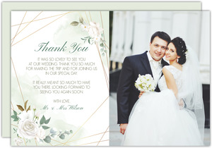 Floral White Garden Wedding Thank You Card