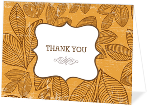 Fall Orange And Brown Thank You Card