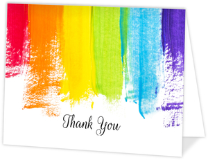 Bold Rainbow Paint Thank You Card