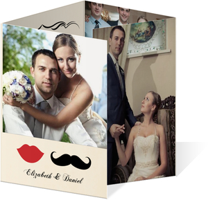 Vintage Mustache  Wedding Thank You