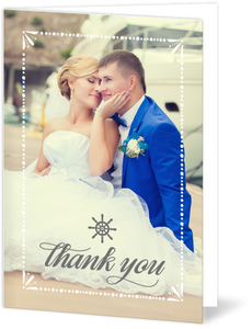 Nautical Mint and Gray Wedding Thank You Card