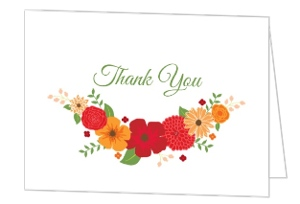 Modern Colorful Flowers Thank You Card