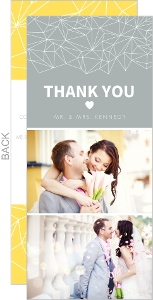 Gray And Yellow Faceted Geometric Pattern Thank You Card