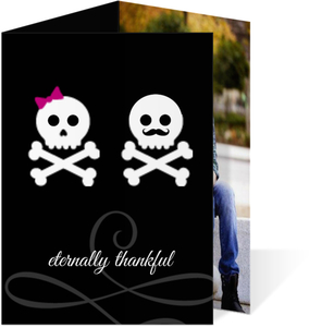 Boy and Girl Whimsical Skulls Halloween  Halloween Thank You Card