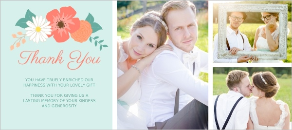 Mint Coral And Peach Country Floral Wedding Thank You Card Wedding