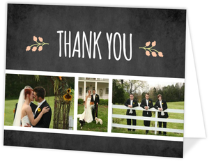 Chalkboard Country Floral  set  Wedding Thank You Card