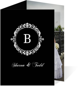 Black And White Elegant Monogram  Wedding Thank You Card