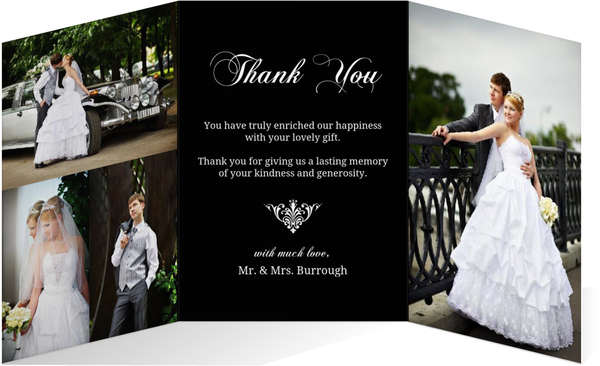 Wedding Thank You Cards.Black And White Elegant Monogram Wedding Thank You Card
