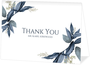 Geometric Frame Navy Leaves Thank You Card