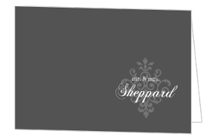 Gray And Elegant White Flourish Thank You Card