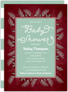 Wintergreen Frame Baby Shower Invitation