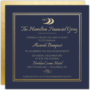 Double Gold Frame Corporate Open House Invitation