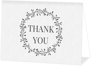 Skinny Wreath Initials Wedding Thank You Card