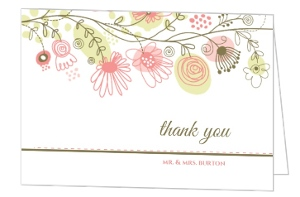 Spring Floral Border Thank You Card