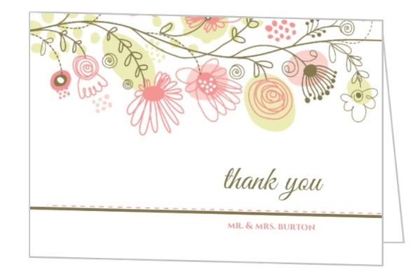 spring floral border thank you card wedding thank you cards