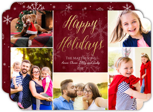 Gold Foil Happy Holidays Script Photo Collage Card
