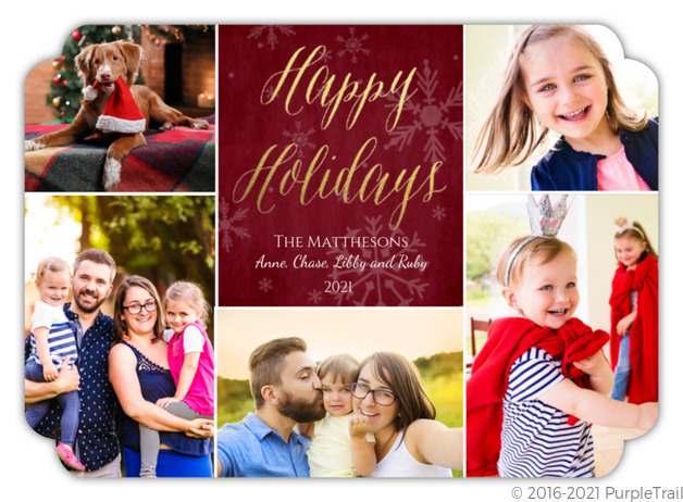 gold foil happy holidays script photo collage card holiday cards