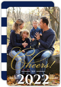 New Years Cheer Gold Foil Photo Card