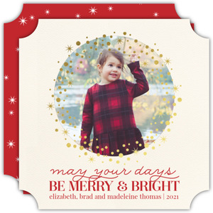 Merry and Bright Gold Foil Wreath Holiday Photo Card