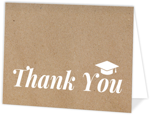 Simple Kraft Graduation Cap Thank You Card